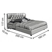 Κρεβάτι London Ντυμένο Υπέρδιπλο Ύφασμα Media strom 170x200cm