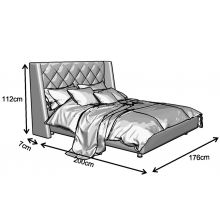 Κρεβάτι Casablanca Ντυμένο Διπλό Ύφασμα Media strom 160x200cm