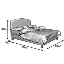 Κρεβάτι  Parma  Ντυμένο Διπλό Ύφασμα Media strom 150×200 cm